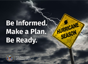 """Graphic that includes sign that reads """"hurricane season."""""""