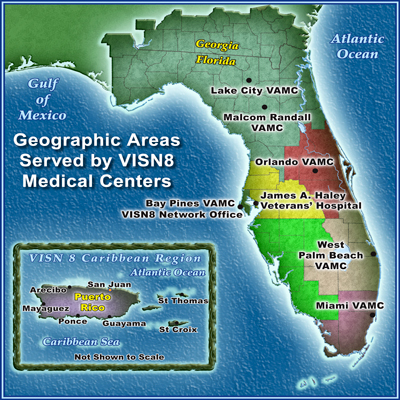 Graphic of the VISN 8 Primary Service Area Map. Click on a map location to visit a medical center website.